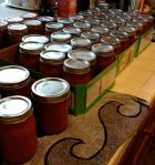 We bottled 57 pints of marinara sauce.