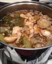 chicken stock in pot
