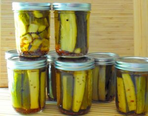 Dill pickles in jars